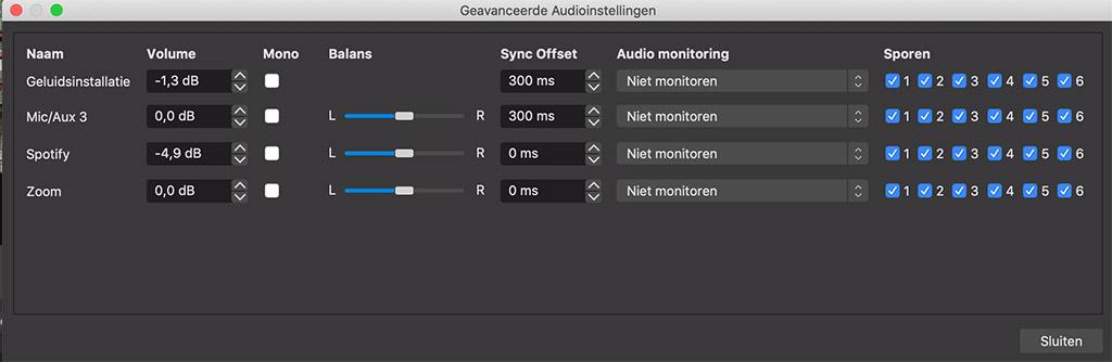 Audio instellingen OBS Studio